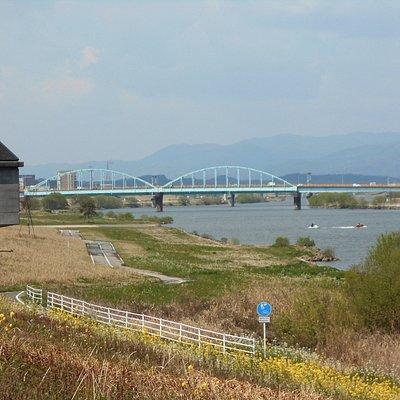 中干出公園付近のサイクルロード(川面にはジェットボート)