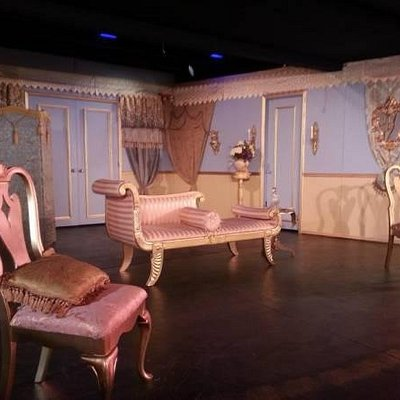 "theatre set of ""Is He Dead"" produced by Palm Desert Stage Company at The Arthur Newman Theatre"