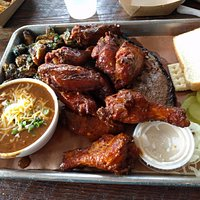 Wings, Brisket, Sprouts, BBQ Chili