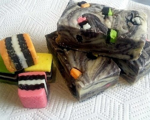 Handcrafted artisan Licorice Allsorts fudge from The Decadent Fudge Co