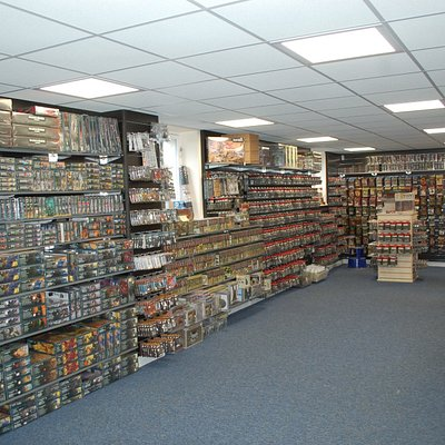 Ground Floor Retail Area at WarGameStore.  Gaming Room on first floor with 16 tables.