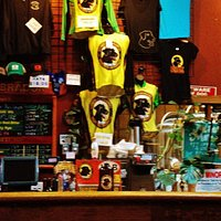 Merchandise on display at the bar.