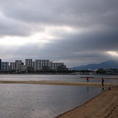 御前浜から、芦屋浜シーサイドタウンの高層住宅群、そして六甲の山並み。