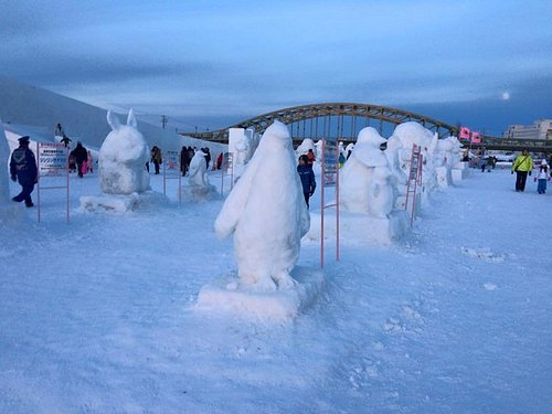 Collection of snow sculptures