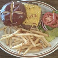Cheese Burger and Baked Fries