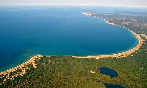 Ariel of Loon Lake, Platte River, Platte Bay, Lake Michigan Shore Line, and Sleeping Bear Dunes