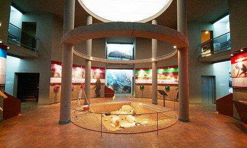 Interior del Hall del Centro de la Prehistoria de Ardales con las excavaciones de las tumbas
