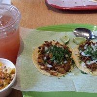 Guava drink, elote and tacos al pastor at Chilango