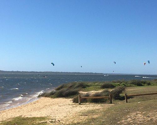 Kite surfers and windsurfer ( hubby)