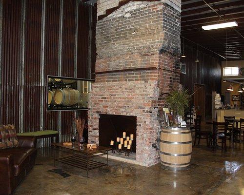 Tasting room & fireplace