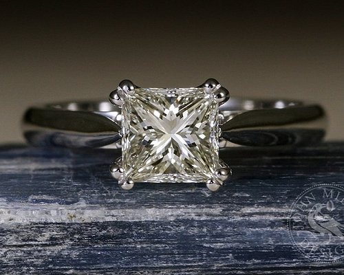 """John Miller Design - """"The One and Only"""" - 18ct white gold featuring a Princess cut diamond"""