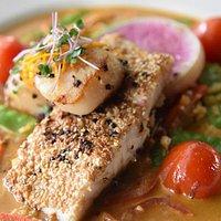 Sesame corvina and Thai curry