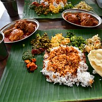 Banana leaf curry (eaten with hands)