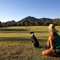 Lucy and I love the view at Arcadia Park.