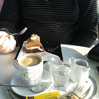 Coffee and carrot cake in the cafe