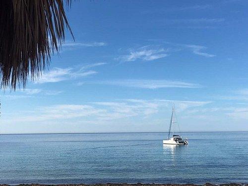 On anchor at San Telmo as we sail around the island