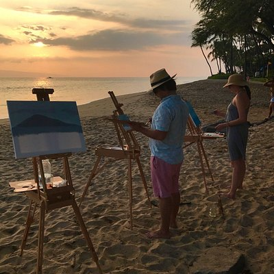 Painting the view from Baby Beach