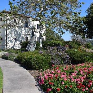 Beautiful statutes and landscaping.