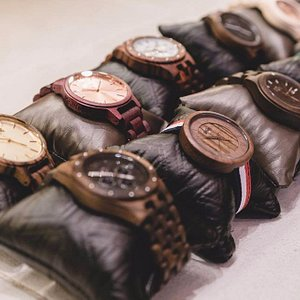 Some of the wooden handmade watches that can be found in the store.