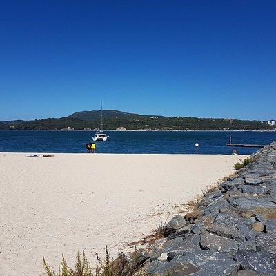 The beach rith next to the marina