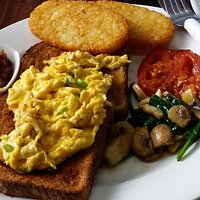 Vegetarian breakfast with delicious relish