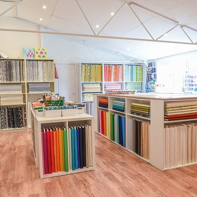 Fabric HQ Shop interior. Lots of fabric for quilting, dress making and craft.