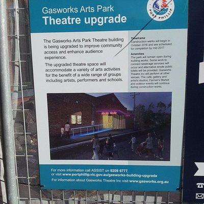 Theatre upgrade sign