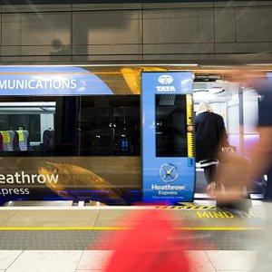 A Heathrow Express train at Terminal 5 station
