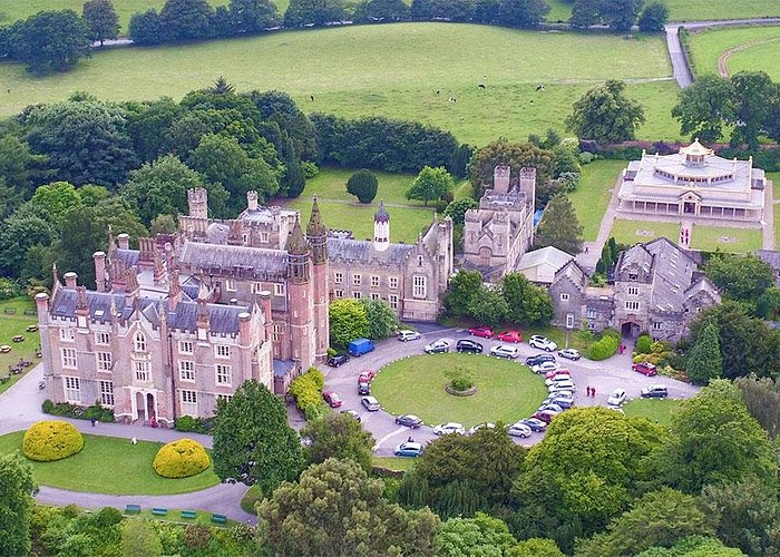 Aerial photo of Conishead Priory building and the Kadampa Temple for World Peace
