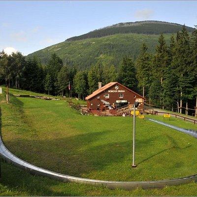 Okolo bobové dráhy je krásná příroda, do níž je zasazen i vedlejší lanový park.