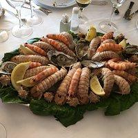 Plato de caracoles de mar, ostrones, langostinos y galeras.