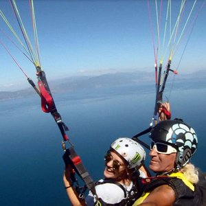 Tandem flight above Ohrid lake
