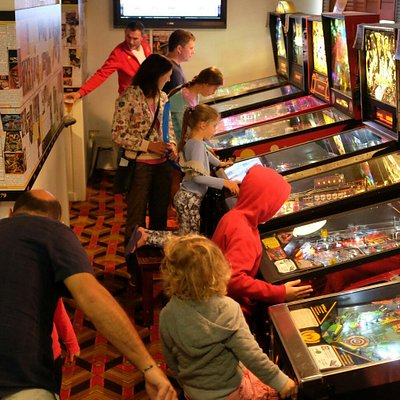 Play great collection of 15 pinballs. Opened  daily from 11AM till late. Check our website for s