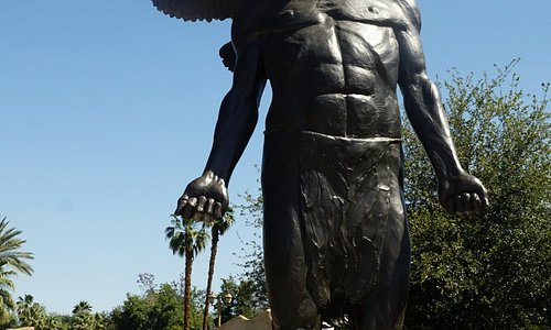 Statue at entrance of park
