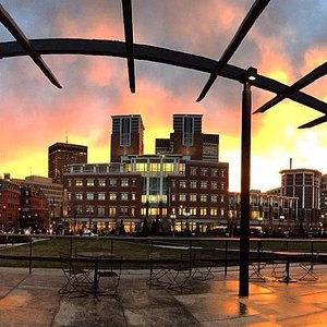 Sunset from underneath the pergola in The Greenway's North End Parks