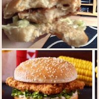 the top pic is the chicken fillet burger I got fro KFC. Absolute disgrace