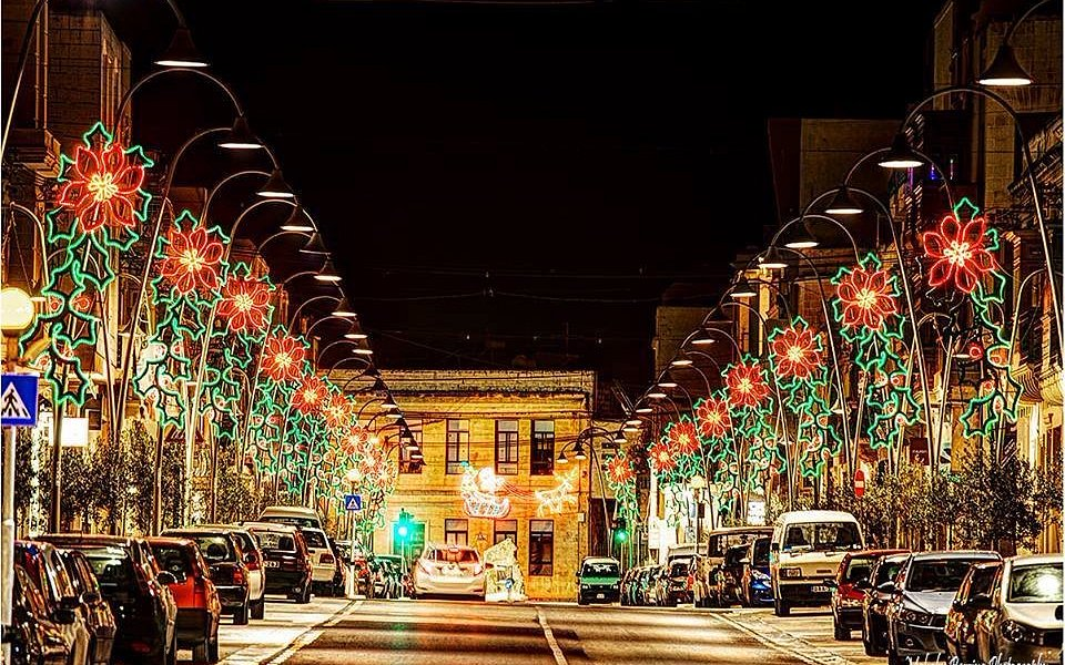 Zebbug Main Road decorated for Christmas