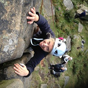 Topping out at Stanage Edge, The Peak District
