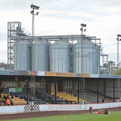 The spectator grandstand at Shielfield Park, Berwick