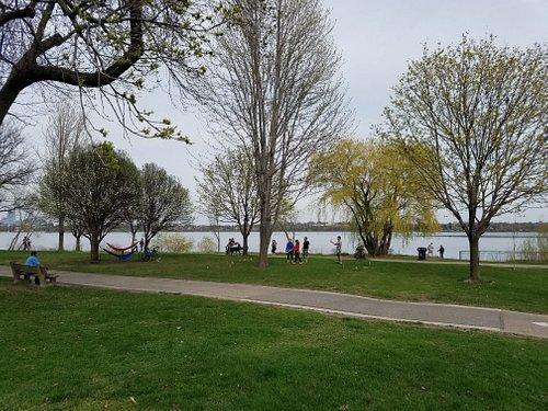 Volleyball, skyline, walking and biking paths