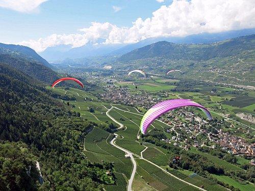 Parapentes biplaces sur la vallée du Rhône
