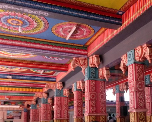 Colourful interior of the temple
