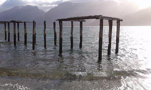Vista del Seno Almirantazgo, Tierra del Fuego, Caleta María, Patagonia profunda. Chile.