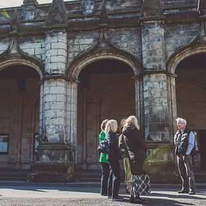 Taking a tour in the university's St Salvator's Quad