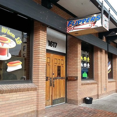 Front entrance to Flippers on Capital, looking south.