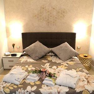 Le camere matrimoniali, ampie ed accoglienti, allestite con eleganza e raffinatezza