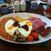 The Full English, with choice of sauces - toast not shown!