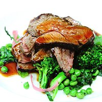 Sauteed lamb rump on broccolini and minted peas