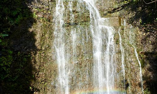 Giant Waterfall on Road to Hana. Managed to capture the perfect rainbow shot