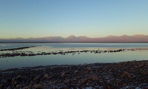 Pôr do Sol na Laguna Cejar ... Andes ao fundo